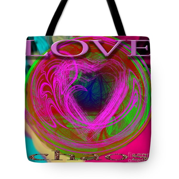 Tote Bag featuring the digital art Love Over Chaos by Clayton Bruster