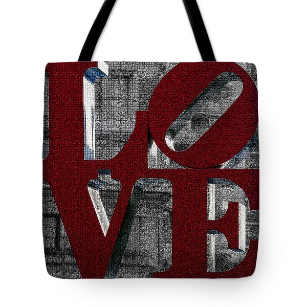 Love Philadelphia Red Mosaic Tote Bag
