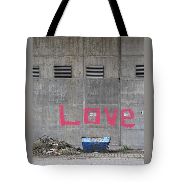Love - Pink Painting On Grey Wall Tote Bag by Matthias Hauser