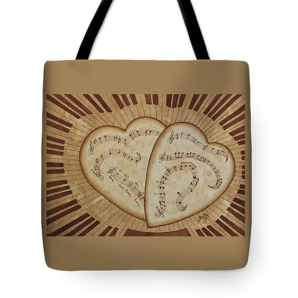 Tote Bag featuring the painting Love Song Of Our Hearts by Georgeta Blanaru