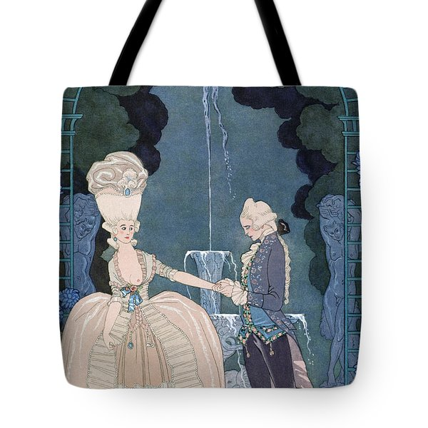 Love Under The Fountain Tote Bag by Georges Barbier