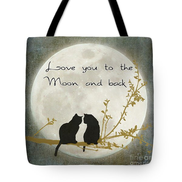 Love You To The Moon And Back Tote Bag by Linda Lees
