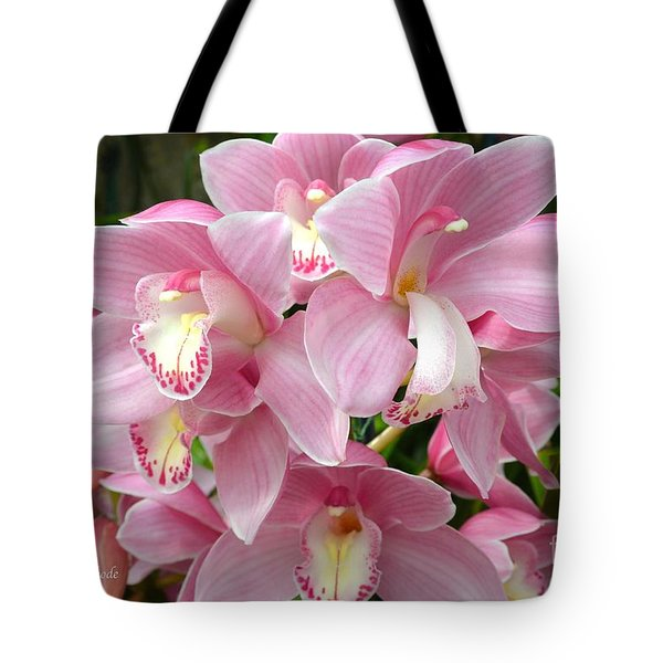 Tote Bag featuring the photograph Cymbidium Pink Orchids by Jeannie Rhode