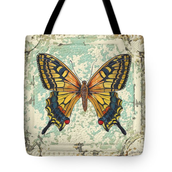 Lovely Yellow Butterfly On Tin Tile Tote Bag