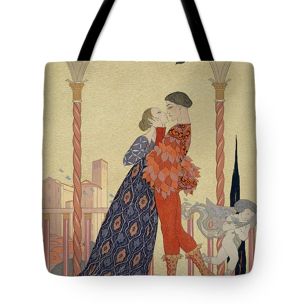 Lovers On A Balcony  Tote Bag by Georges Barbier