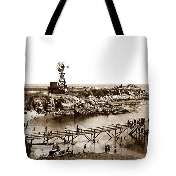 Lovers Point Beach And Old Wooden Pier Pacific Grove August 18 1900 Tote Bag