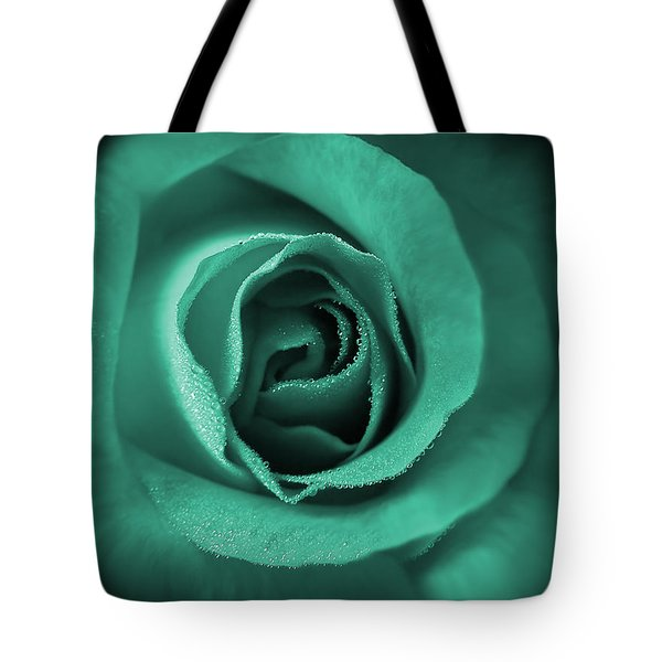 Love's Eternal Teal Green Rose Tote Bag by Jennie Marie Schell