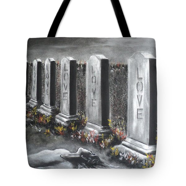 Tote Bag featuring the drawing Loves Silent Echoes by Carla Carson