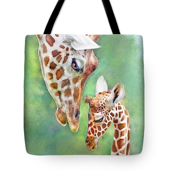 Tote Bag featuring the digital art Loving Mother Giraffe2 by Jane Schnetlage