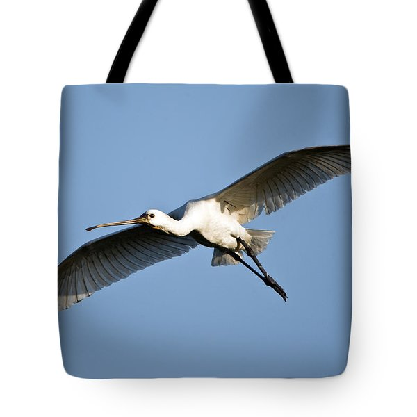 Low Angle View Of A Eurasian Spoonbill Tote Bag