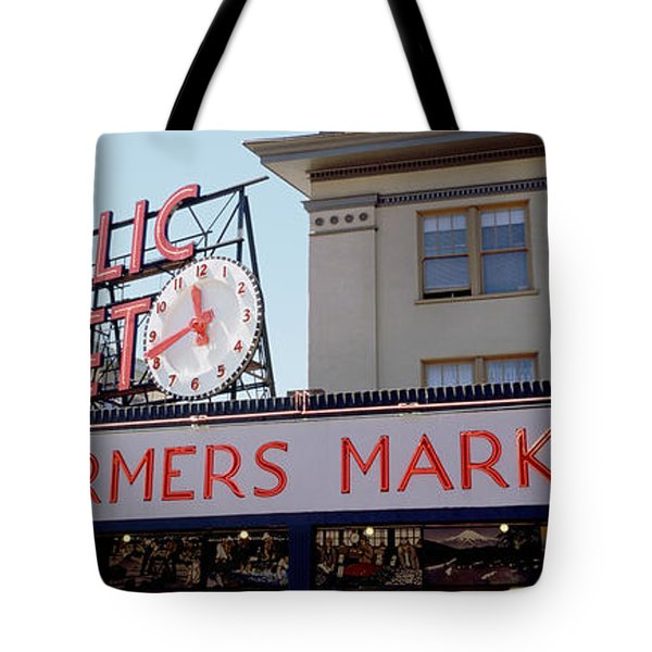 Low Angle View Of Buildings Tote Bag