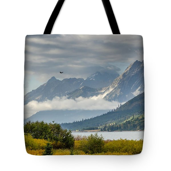 Low Clouds On The Teton Mountains Tote Bag by Debra Martz