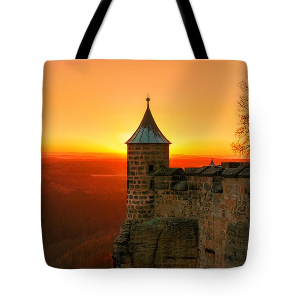 Low Sun On The Fortress Koenigstein Tote Bag