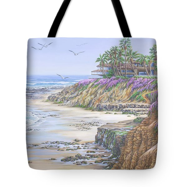 Tote Bag featuring the painting Low Tide Solana Beach by Jane Girardot