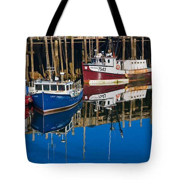Boats And Reflections At Low Tide On Digby Bay Nova Scotia Tote Bag