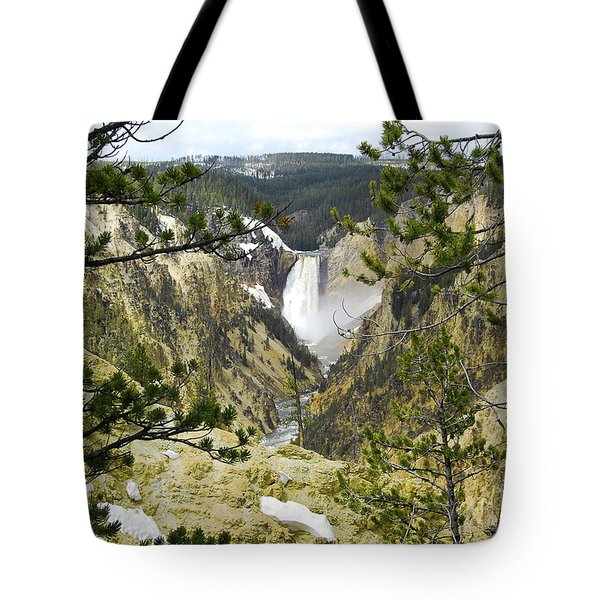 Lower Falls From Artist Point Yellowstone National Park Tote Bag by Shawn O'Brien