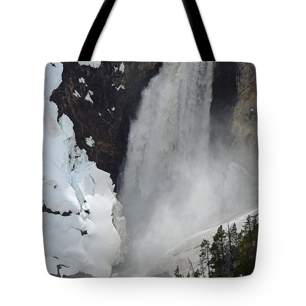 Lower Falls Of The Yellowstone In Spring Tote Bag by Bruce Gourley