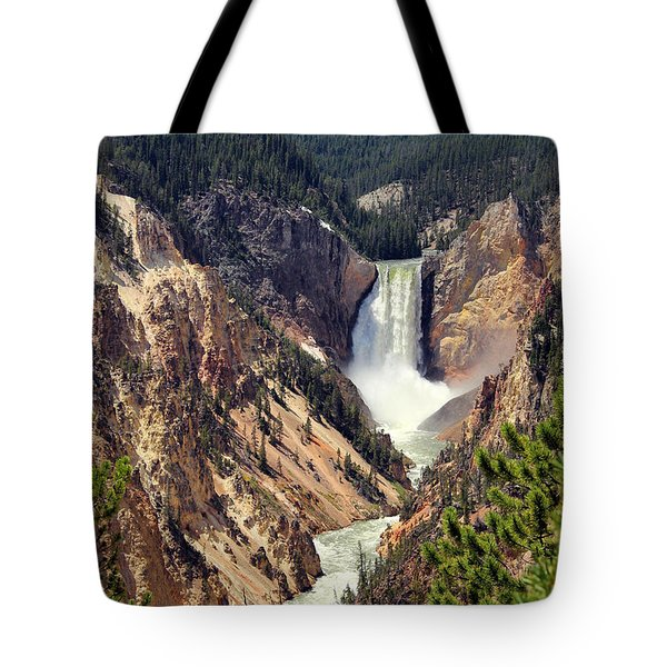 Lower Falls Of Yellowstone Tote Bag