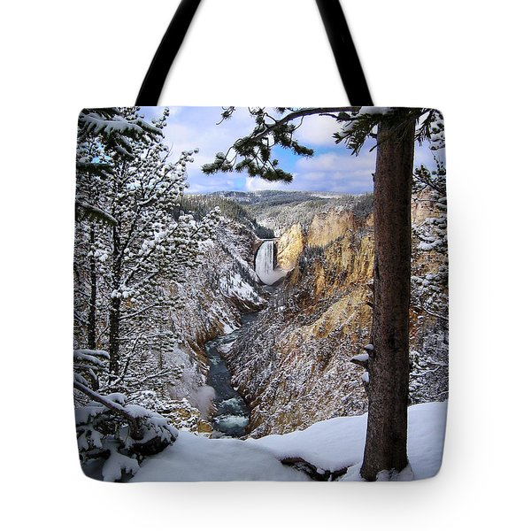 Lower Yellowstone Falls In October Tote Bag by Robert Woodward
