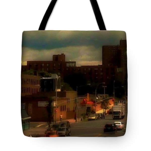 Tote Bag featuring the photograph Lowering Clouds by Miriam Danar