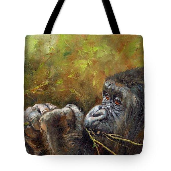 Lowland Gorilla 2 Tote Bag by David Stribbling