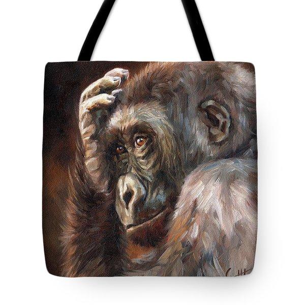Lowland Gorilla Tote Bag by David Stribbling