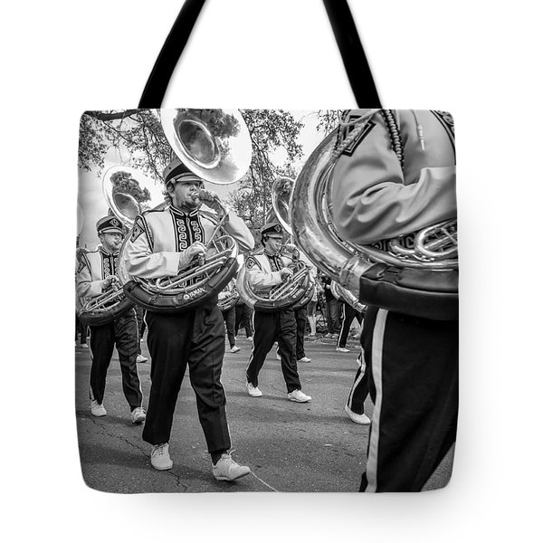 Lsu Tigers Band Monochrome Tote Bag by Steve Harrington