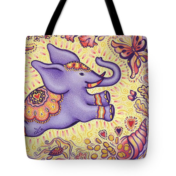 Lucky Elephant Purple Tote Bag by Judith Grzimek