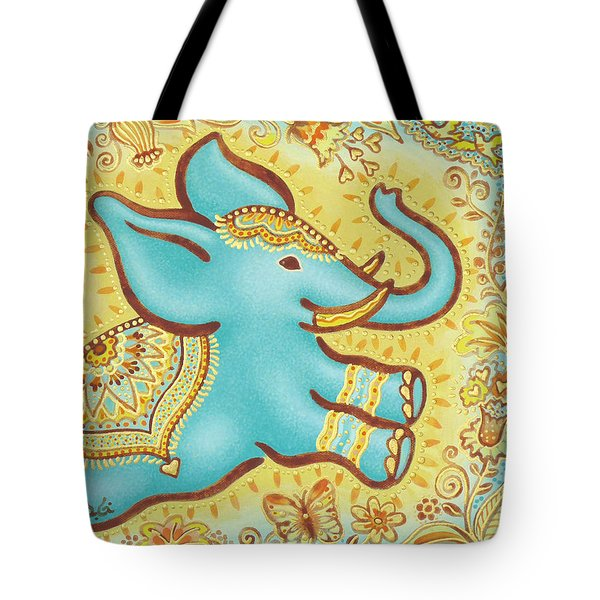 Lucky Elephant Turquoise Tote Bag by Judith Grzimek