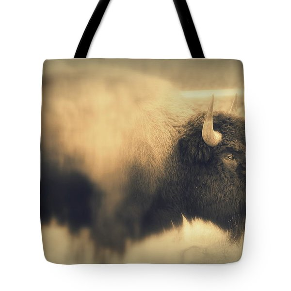 Tote Bag featuring the photograph Lucky Yellowstone Buffalo by Lynn Sprowl