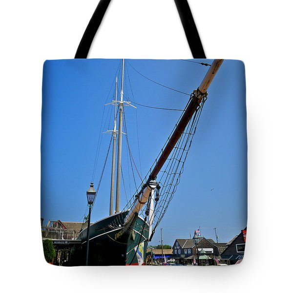 Lucy Evelyn At Schooner's Wharf Tote Bag by Mark Miller