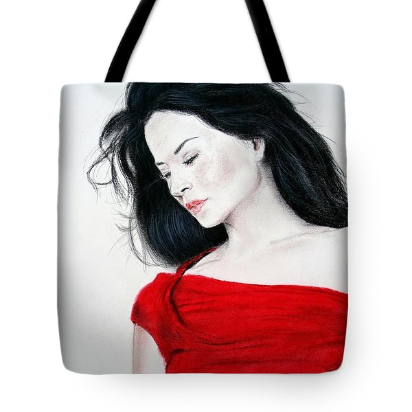 Tote Bag featuring the mixed media Lucy Liu The Lady In Red by Jim Fitzpatrick