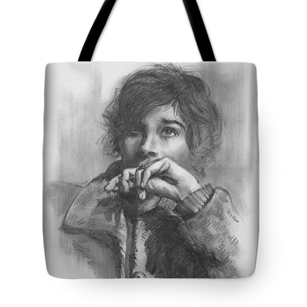 Tote Bag featuring the drawing Lucy by Paul Davenport