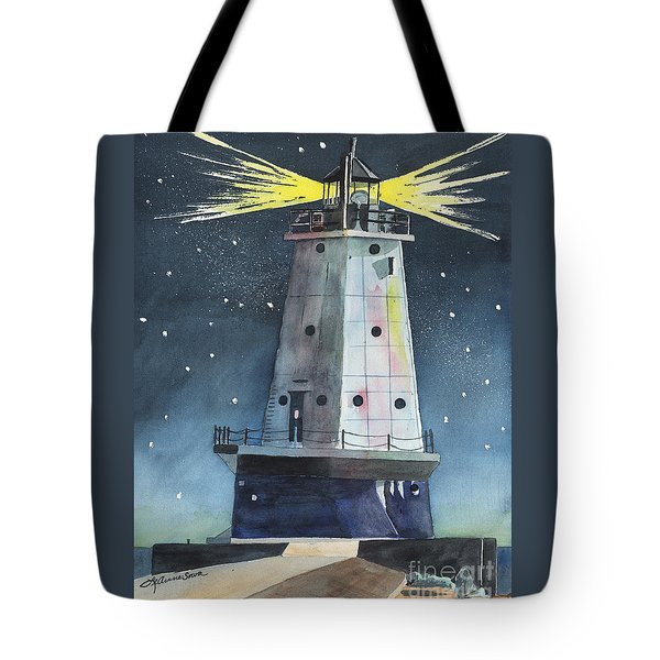Tote Bag featuring the painting Ludington Light by LeAnne Sowa