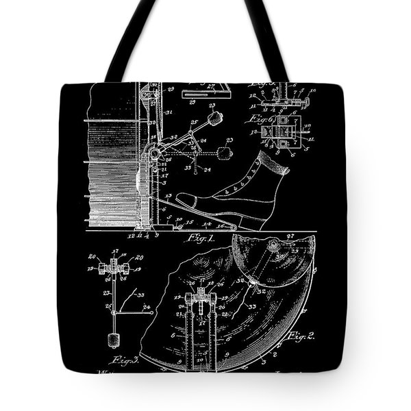 Ludwig Drum And Cymbal Foot Pedal Patent 1909 - Black Tote Bag