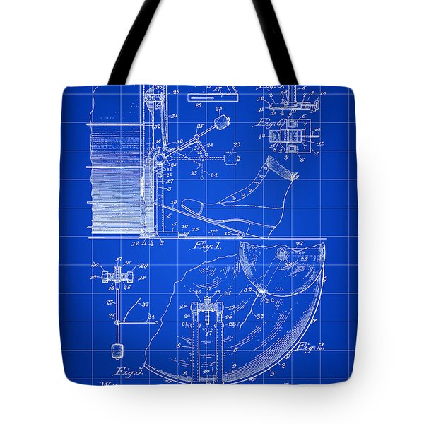 Ludwig Drum And Cymbal Foot Pedal Patent 1909 - Blue Tote Bag