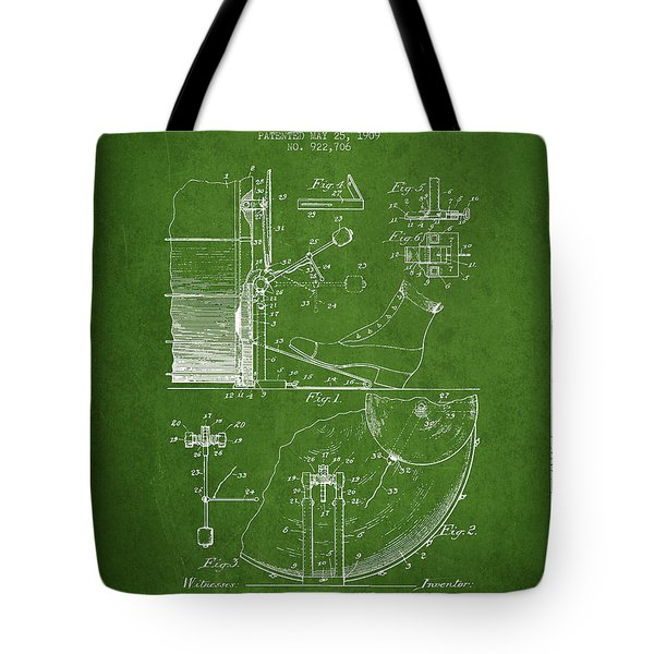 Ludwig Foot Pedal Patent Drawing From 1909 - Green Tote Bag