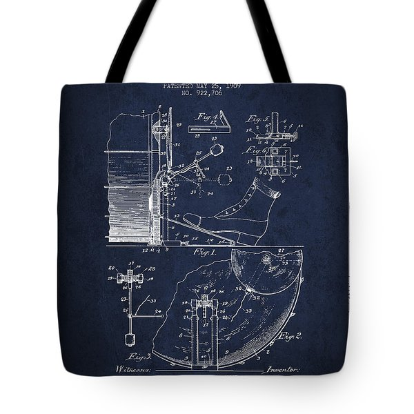 Ludwig Foot Pedal Patent Drawing From 1909 - Navy Blue Tote Bag