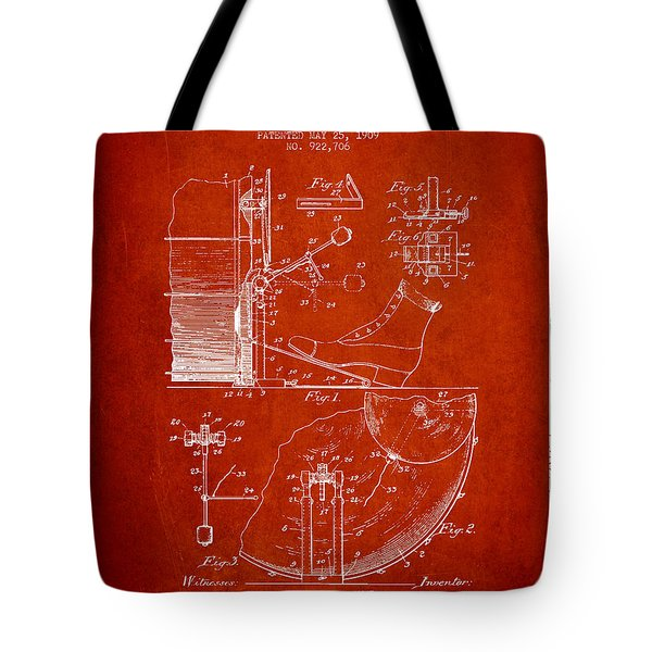 Ludwig Foot Pedal Patent Drawing From 1909 - Red Tote Bag