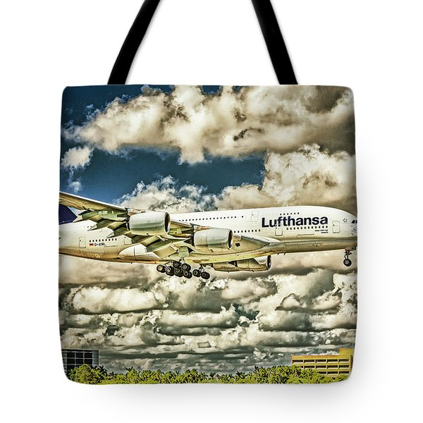 Lost In The Clouds Lufthansa A380 Named Hamburg-colorized Abstract Tote Bag