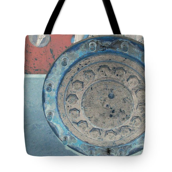Lug Nut Wheel Right  Tote Bag by Heather Kirk