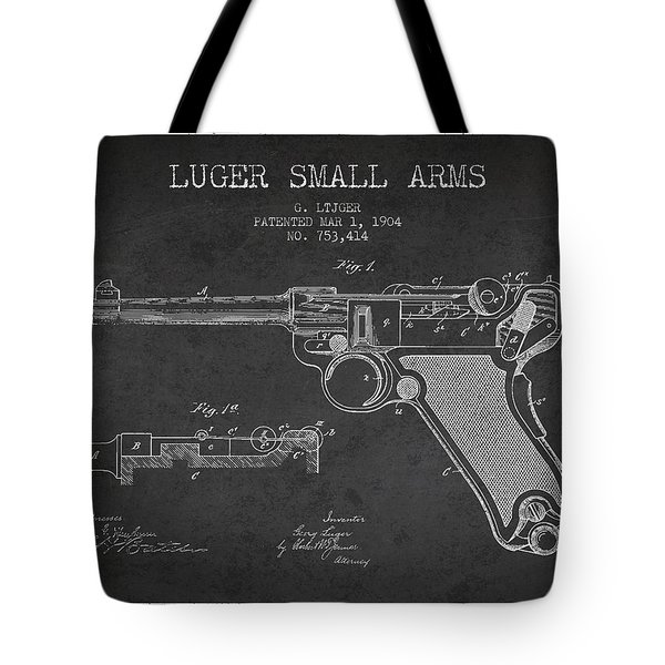 Lugar Small Arms Patent Drawing From 1904 - Dark Tote Bag