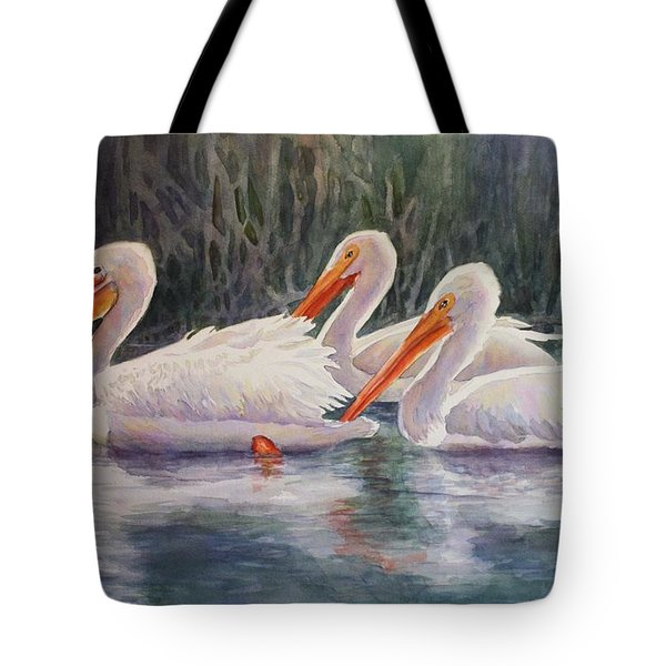 Luminous White Pelicans Tote Bag