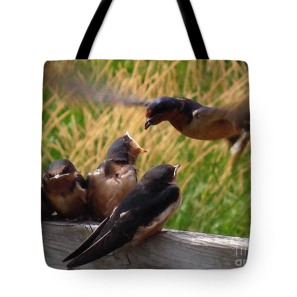 Lunch Is Served To The Fourth Baby Barn Swallow Tote Bag by J McCombie