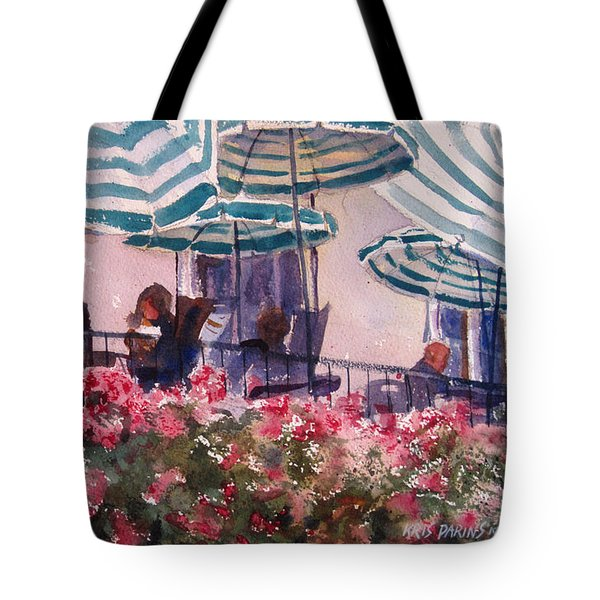 Lunch Under Umbrellas Tote Bag by Kris Parins