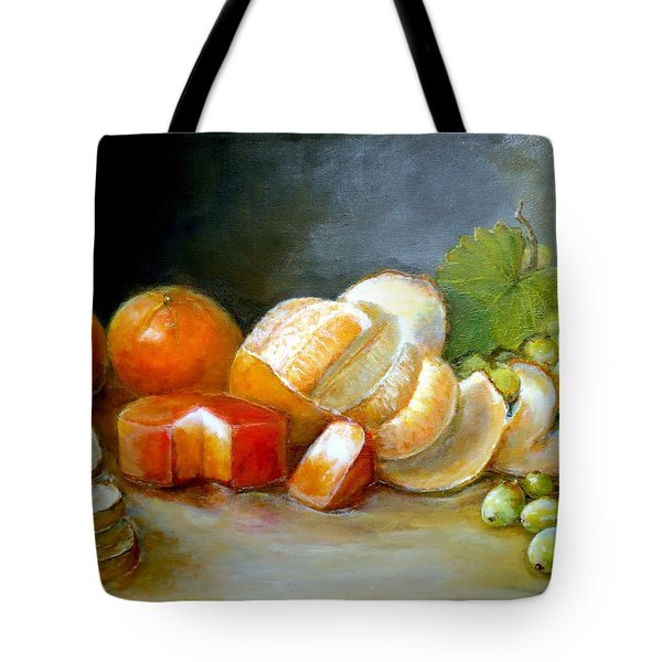 Tote Bag featuring the painting Luncheon Delight - Still Life by Bernadette Krupa