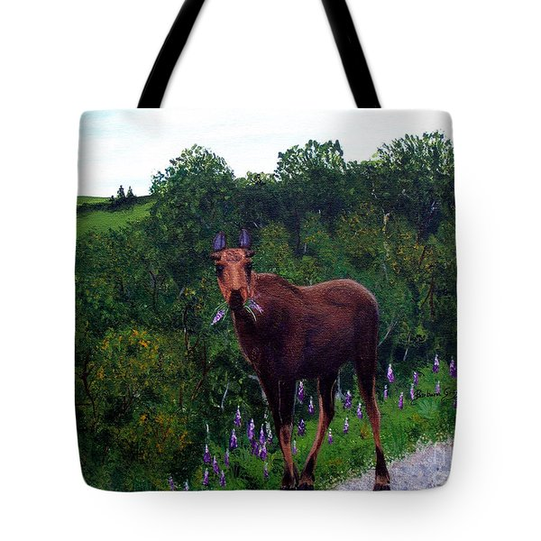 Lupine Loving Moose Tote Bag by Barbara Griffin