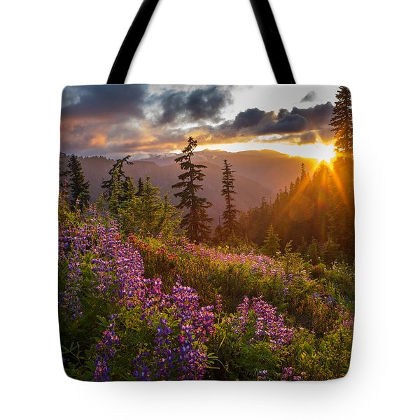 Lupine Meadows Sunstar Tote Bag by Mike Reid