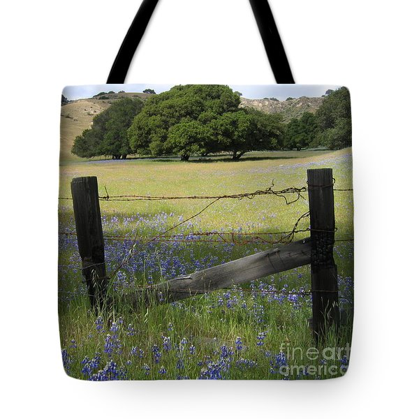Tote Bag featuring the photograph Lupines And Oaks by James B Toy