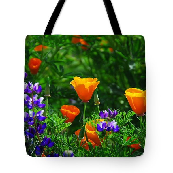 Lupines And Poppies Tote Bag by Lynn Bauer